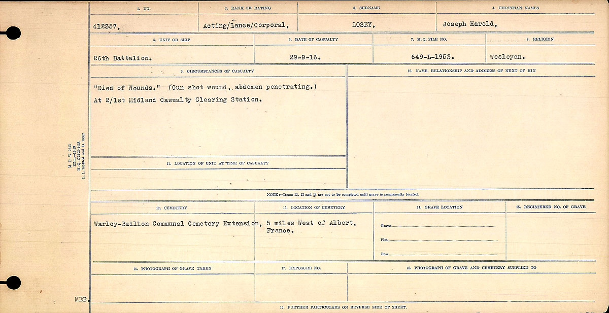 Title: Circumstances of Death Registers, First World War - Mikan Number: 46246 - Microform: 31829_B016751