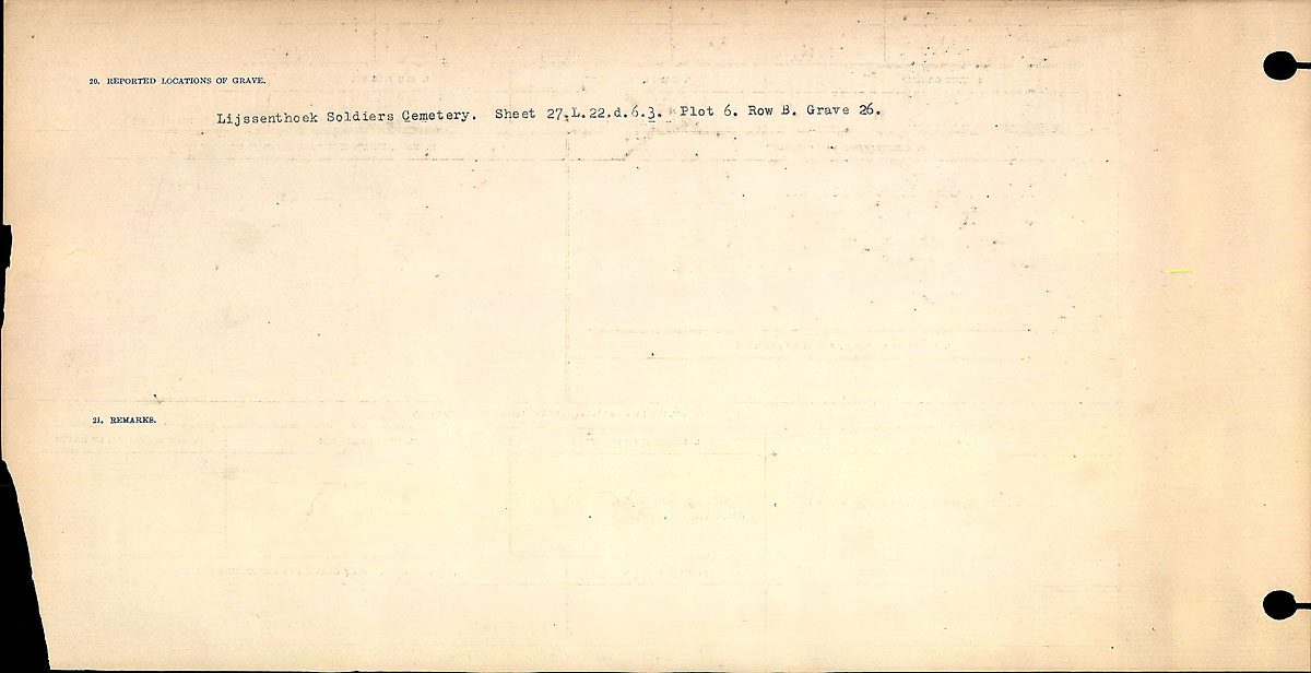 Title: Circumstances of Death Registers, First World War - Mikan Number: 46246 - Microform: 31829_B016752