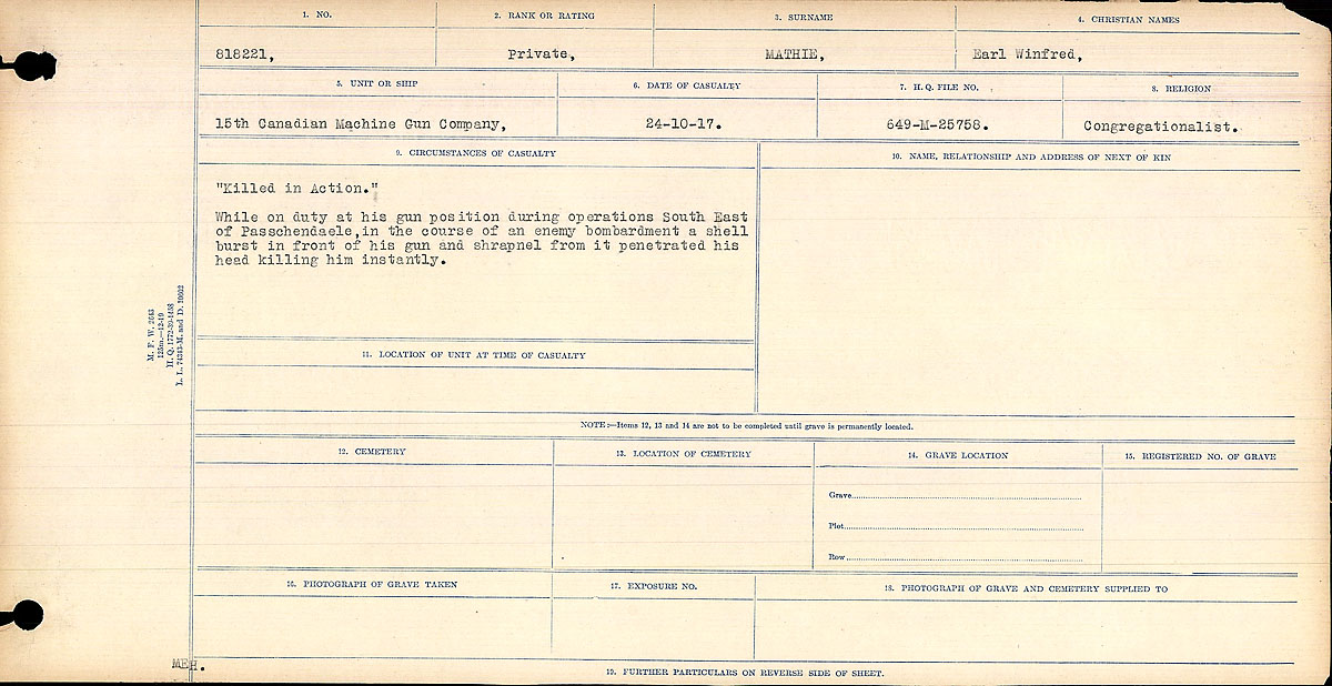Title: Circumstances of Death Registers, First World War - Mikan Number: 46246 - Microform: 31829_B016754
