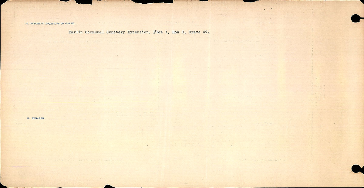 Title: Circumstances of Death Registers, First World War - Mikan Number: 46246 - Microform: 31829_B016755