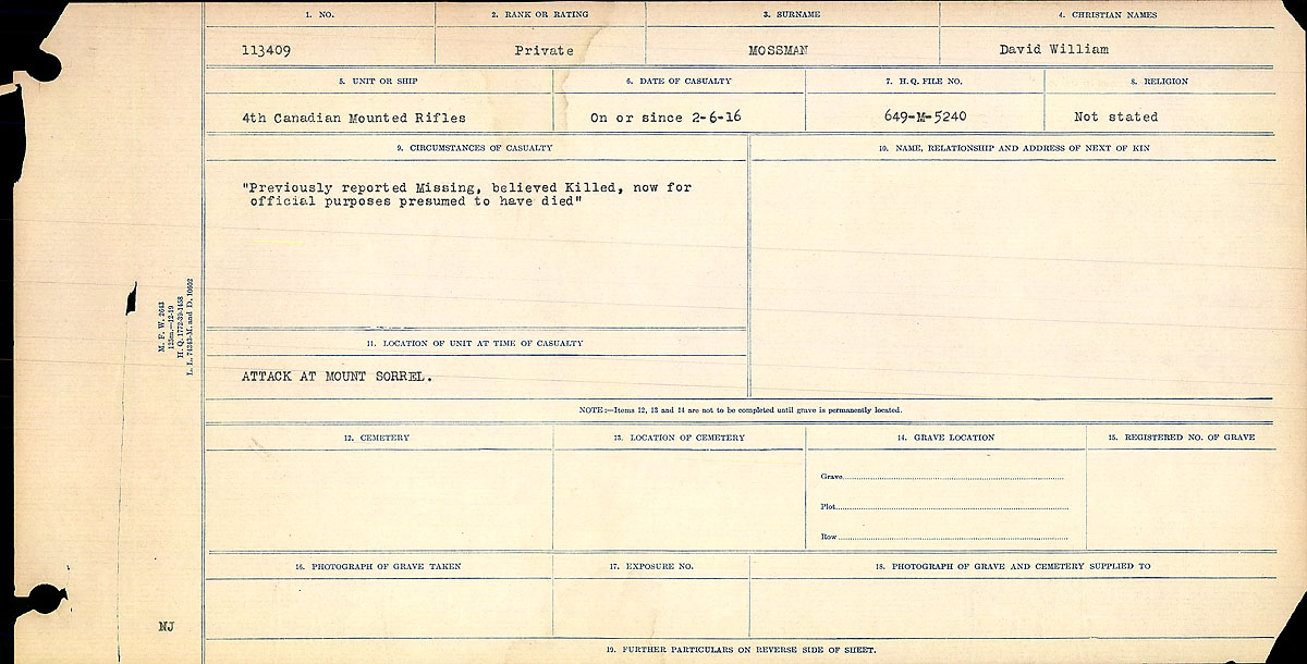 Title: Circumstances of Death Registers, First World War - Mikan Number: 46246 - Microform: 31829_B016757