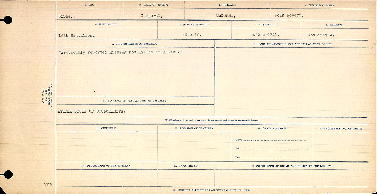 Title: Circumstances of Death Registers, First World War - Mikan Number: 46246 - Microform: 31829_B016758