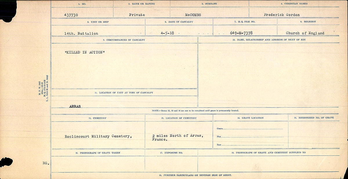Title: Circumstances of Death Registers, First World War - Mikan Number: 46246 - Microform: 31829_B016759