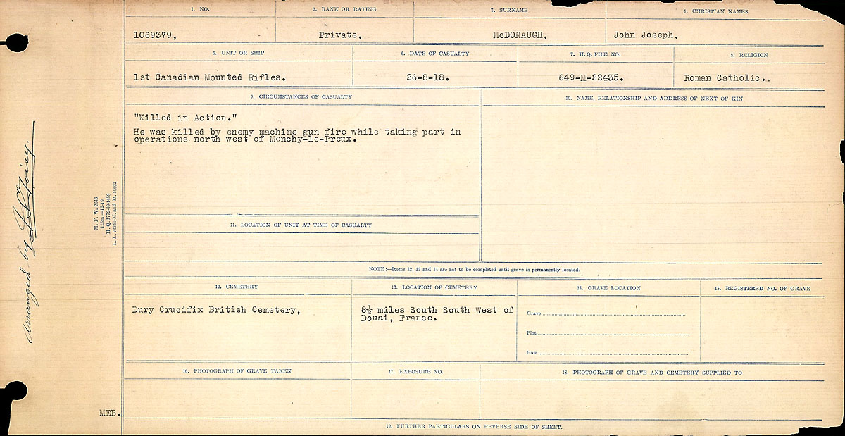 Title: Circumstances of Death Registers, First World War - Mikan Number: 46246 - Microform: 31829_B016760
