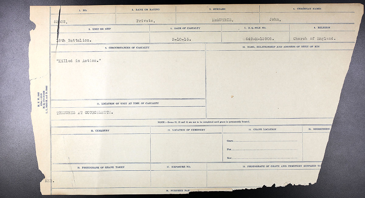 Title: Circumstances of Death Registers, First World War - Mikan Number: 46246 - Microform: 31829_B016762