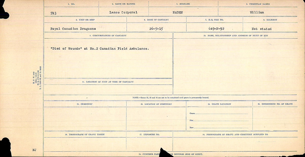 Title: Circumstances of Death Registers, First World War - Mikan Number: 46246 - Microform: 31829_B016764
