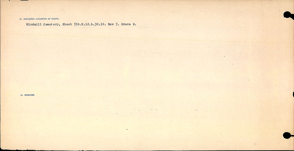 Title: Circumstances of Death Registers, First World War - Mikan Number: 46246 - Microform: 31829_B016765