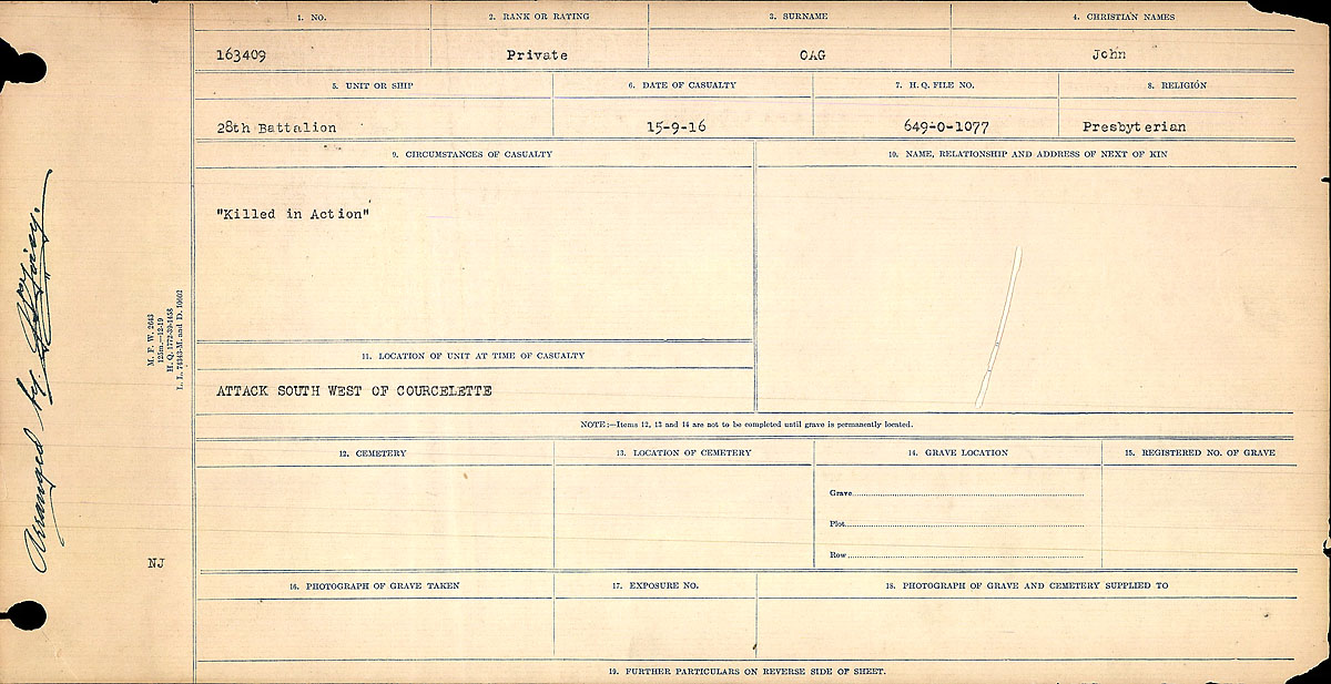 Title: Circumstances of Death Registers, First World War - Mikan Number: 46246 - Microform: 31829_B016766