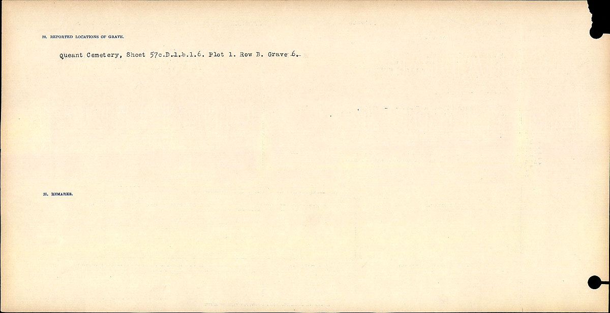 Title: Circumstances of Death Registers, First World War - Mikan Number: 46246 - Microform: 31829_B016767