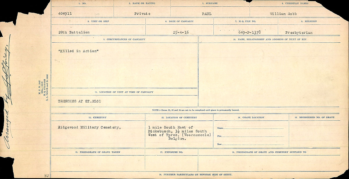 Title: Circumstances of Death Registers, First World War - Mikan Number: 46246 - Microform: 31829_B016768