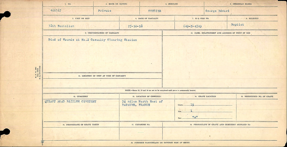 Title: Circumstances of Death Registers, First World War - Mikan Number: 46246 - Microform: 31829_B016770