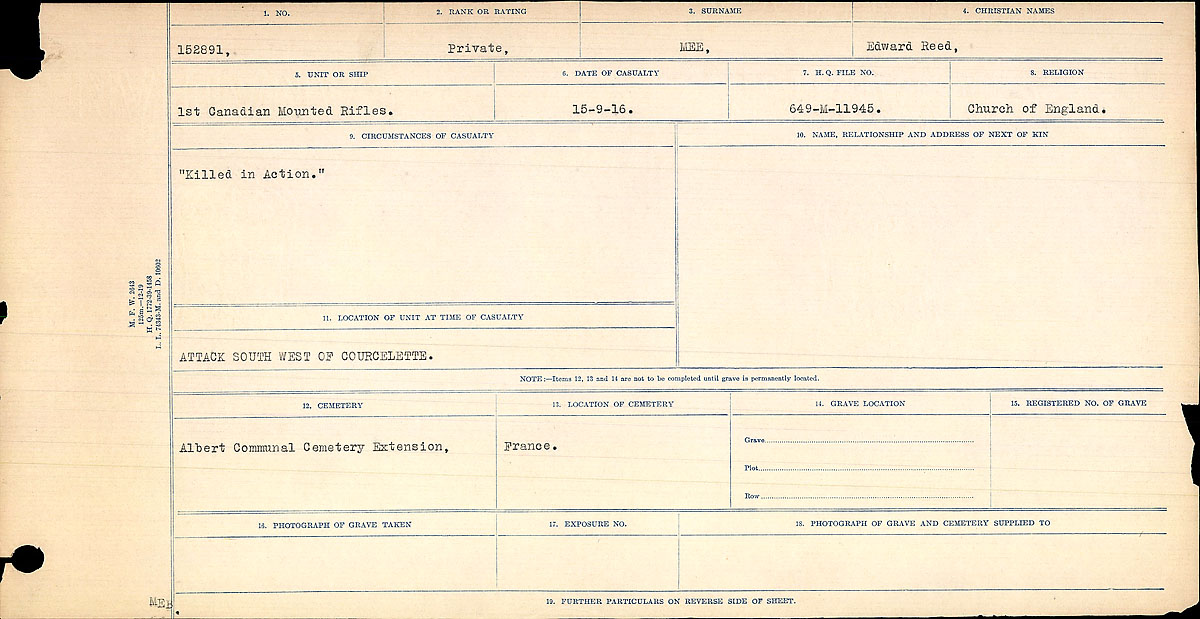 Title: Circumstances of Death Registers, First World War - Mikan Number: 46246 - Microform: 31829_B016772