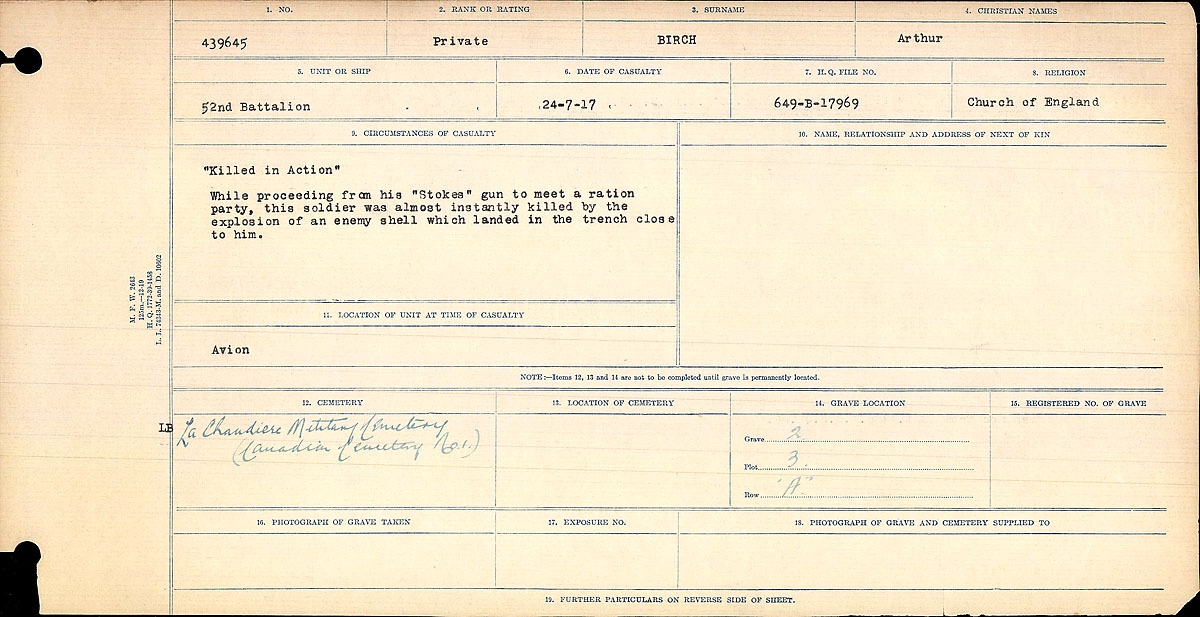 Title: Circumstances of Death Registers, First World War - Mikan Number: 46246 - Microform: 31829_B034746
