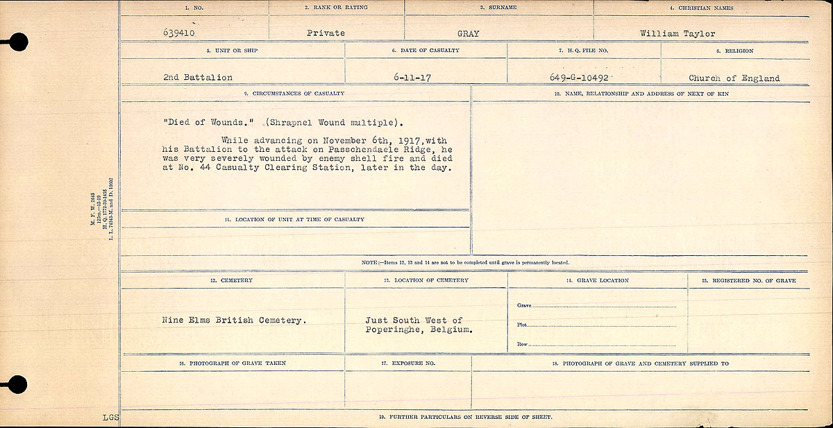 Title: Circumstances of Death Registers, First World War - Mikan Number: 46246 - Microform: 31829_B034747