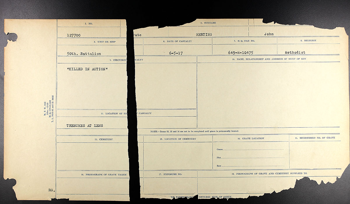 Title: Circumstances of Death Registers, First World War - Mikan Number: 46246 - Microform: 31829_B034748