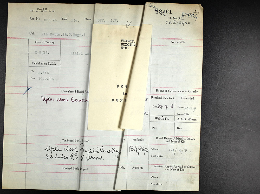 Title: Commonwealth War Graves Registers, First World War - Mikan Number: 46246 - Microform: 31830_B016598