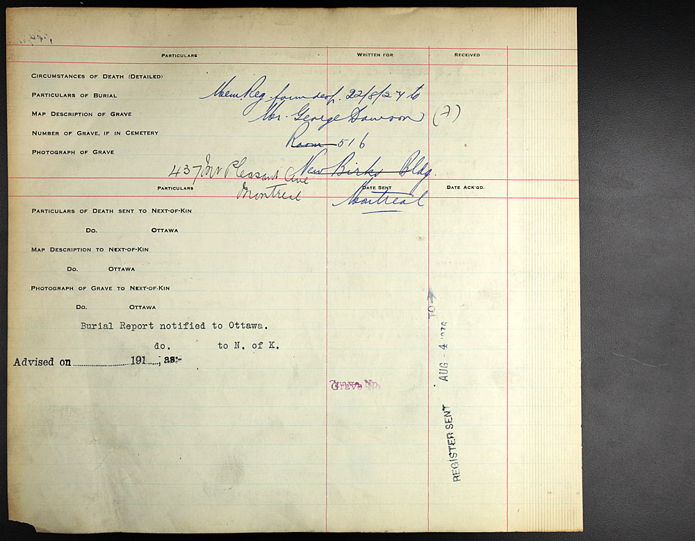 Title: Commonwealth War Graves Registers, First World War - Mikan Number: 46246 - Microform: 31830_B016600