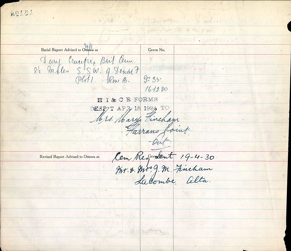 Title: Commonwealth War Graves Registers, First World War - Mikan Number: 46246 - Microform: 31830_B016606