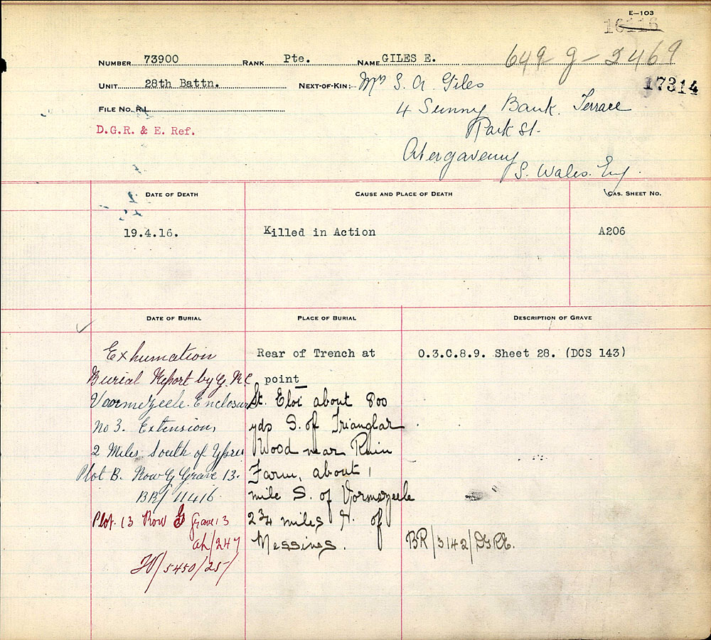 Title: Commonwealth War Graves Registers, First World War - Mikan Number: 46246 - Microform: 31830_B016609
