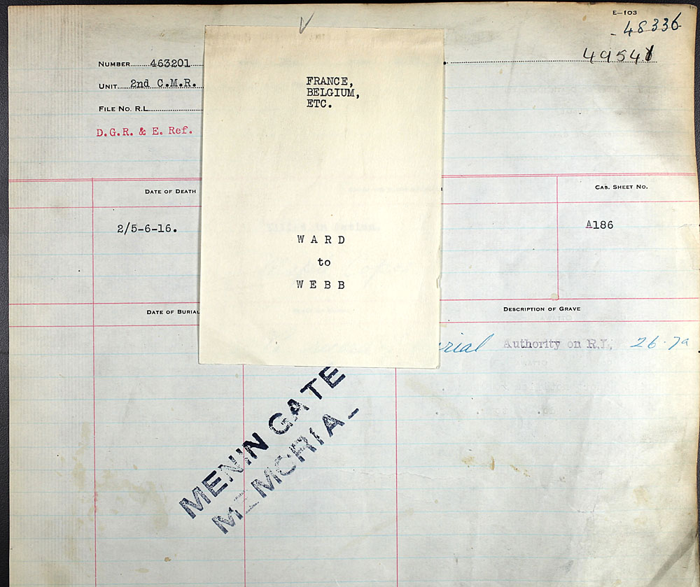 Title: Commonwealth War Graves Registers, First World War - Mikan Number: 46246 - Microform: 31830_B016651