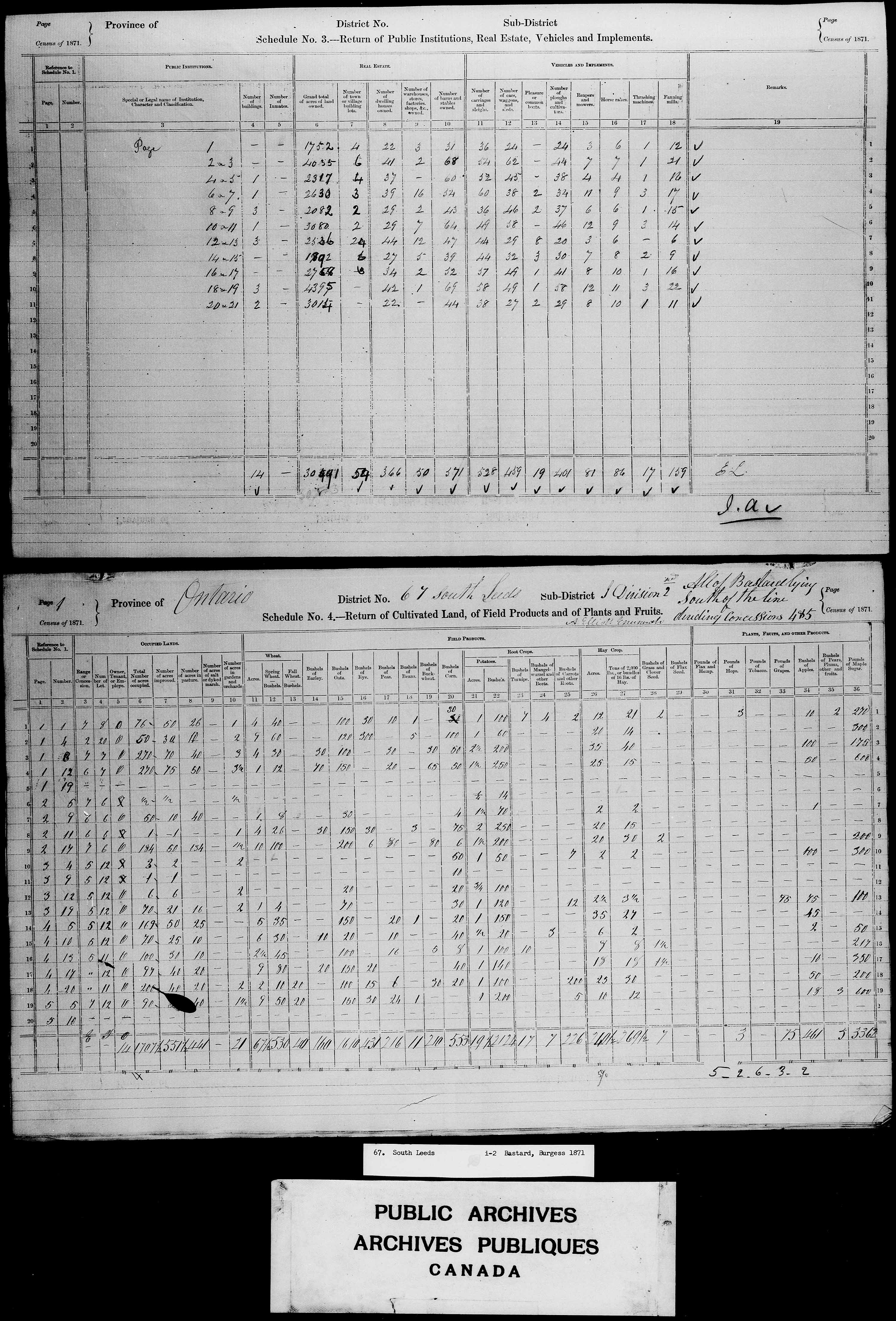 Title: Census of Canada, 1871 - Mikan Number: 142105 - Microform: c-10002