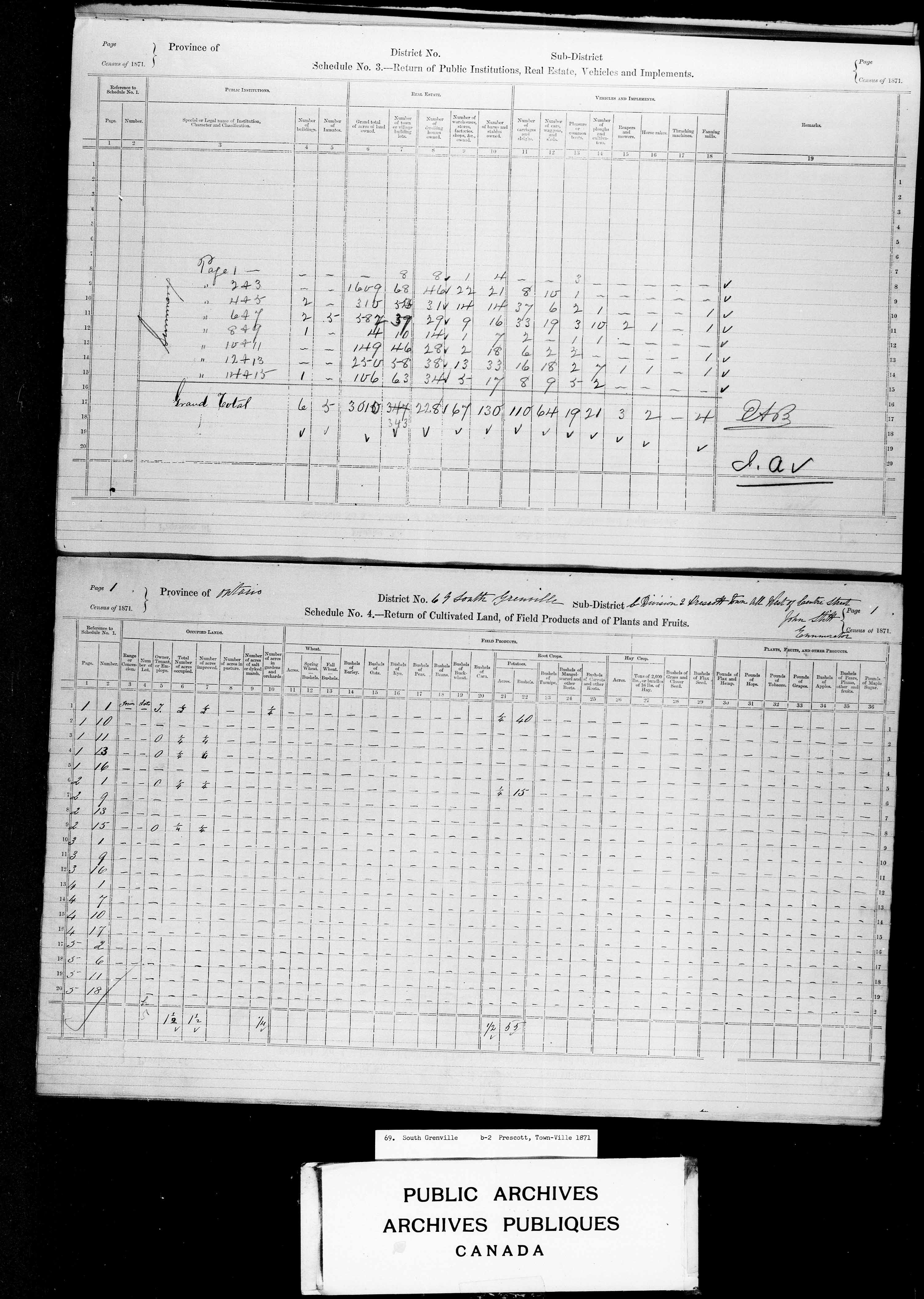 Title: Census of Canada, 1871 - Mikan Number: 142105 - Microform: c-10003