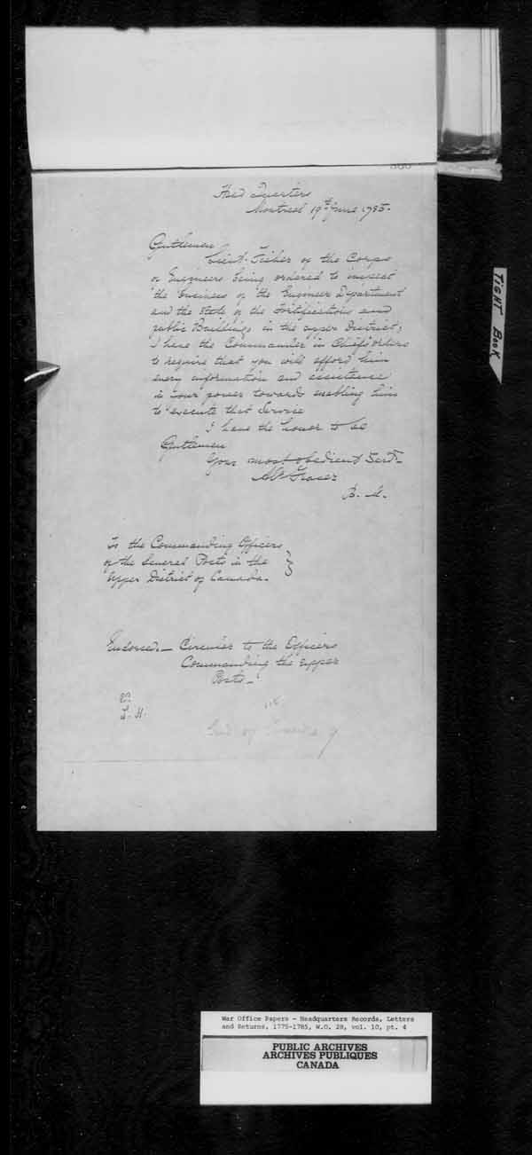 Title: British Military and Naval Records (RG 8, C Series) - DOCUMENTS - Mikan Number: 105012 - Microform: c-10862