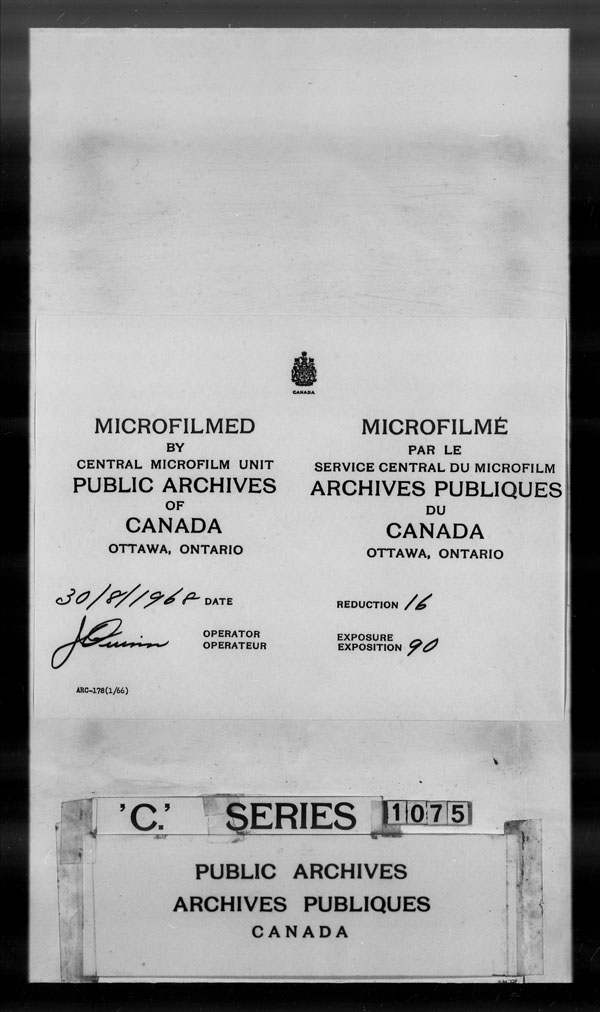 Title: British Military and Naval Records (RG 8, C Series) - DOCUMENTS - Mikan Number: 105012 - Microform: c-1467