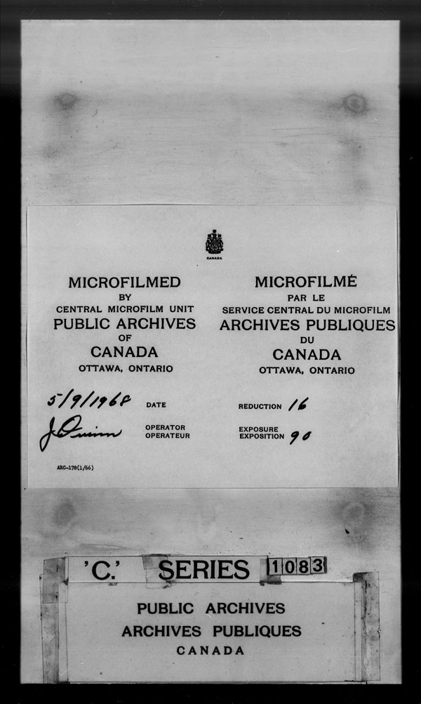 Title: British Military and Naval Records (RG 8, C Series) - DOCUMENTS - Mikan Number: 105012 - Microform: c-1469