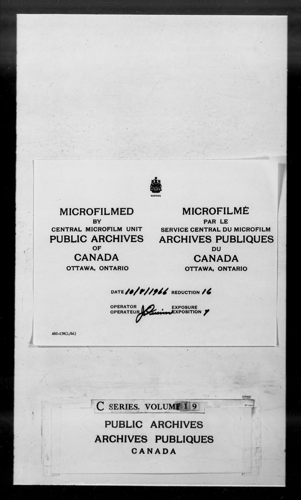 Title: British Military and Naval Records (RG 8, C Series) - DOCUMENTS - Mikan Number: 105012 - Microform: c-2611