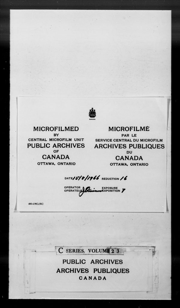 Title: British Military and Naval Records (RG 8, C Series) - DOCUMENTS - Mikan Number: 105012 - Microform: c-2612