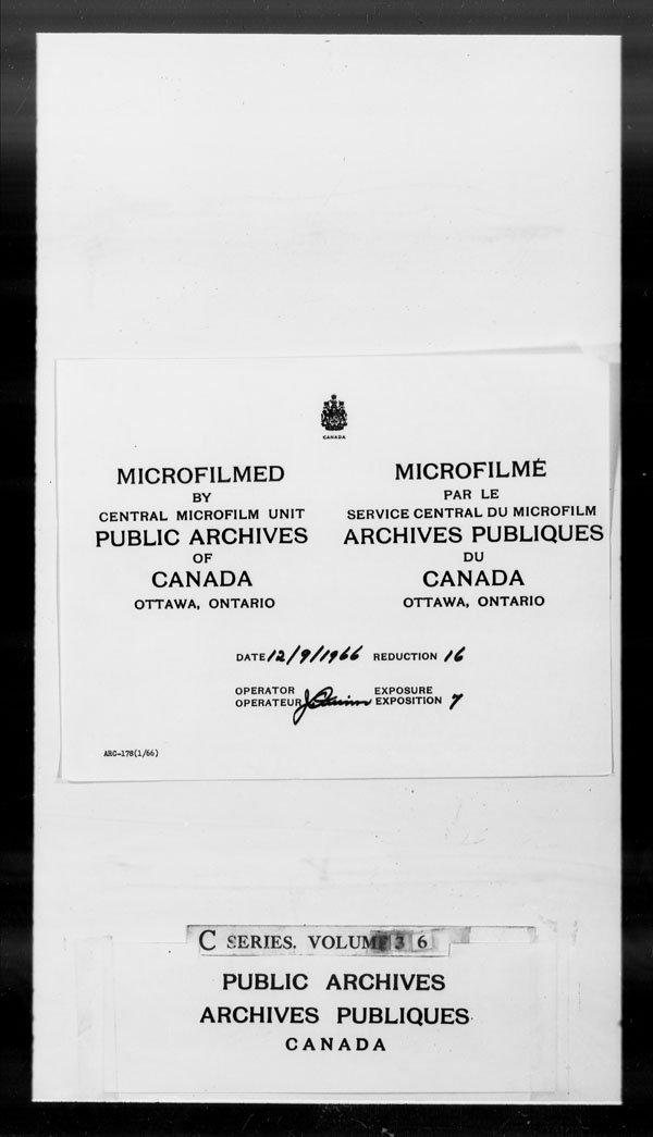 Title: British Military and Naval Records (RG 8, C Series) - DOCUMENTS - Mikan Number: 105012 - Microform: c-2616
