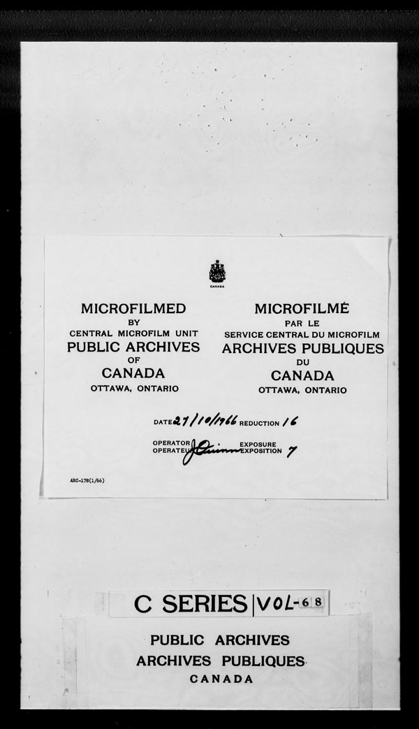 Title: British Military and Naval Records (RG 8, C Series) - DOCUMENTS - Mikan Number: 105012 - Microform: c-2640