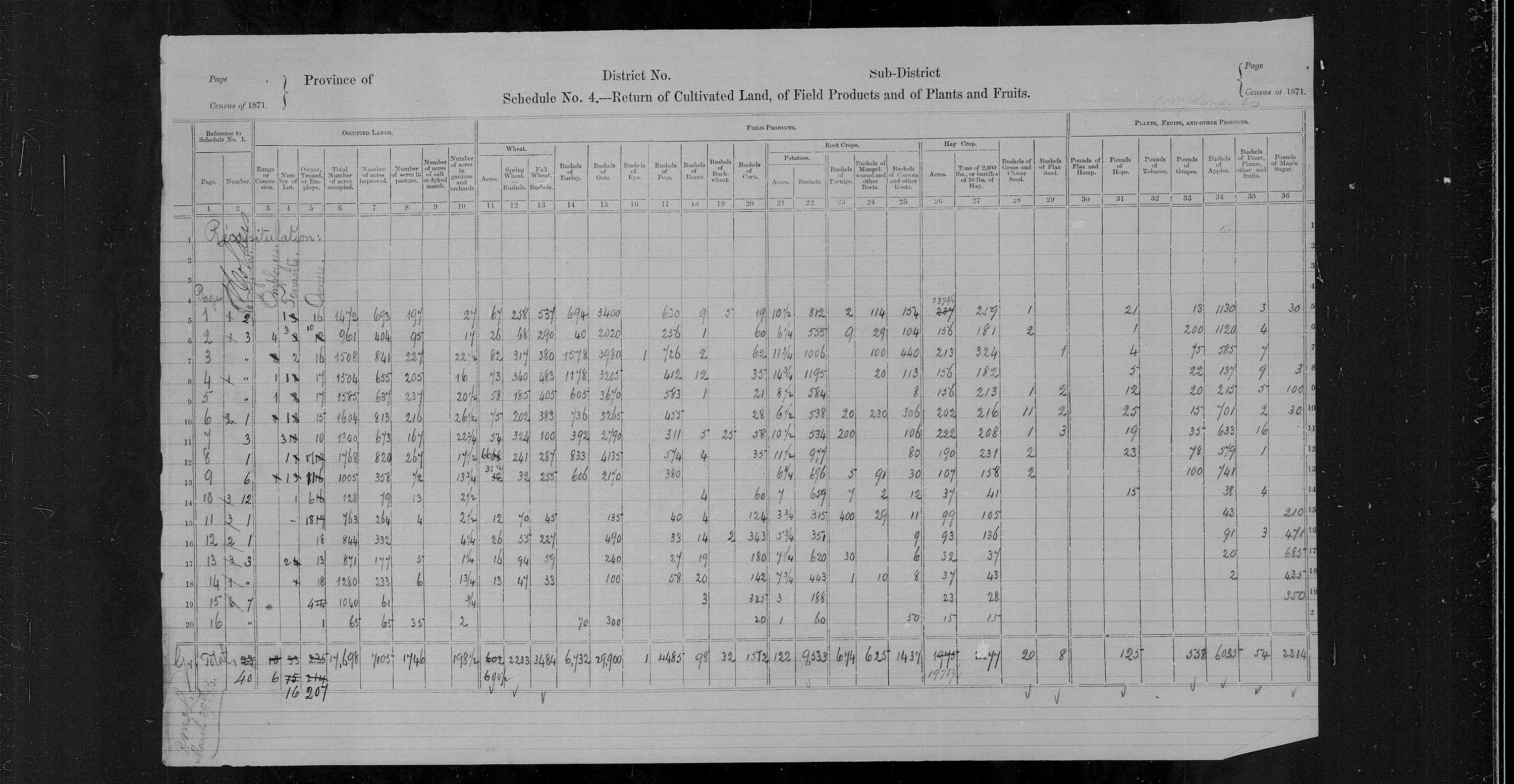 Title: Census of Canada, 1871 - Mikan Number: 142105 - Microform: c-9895