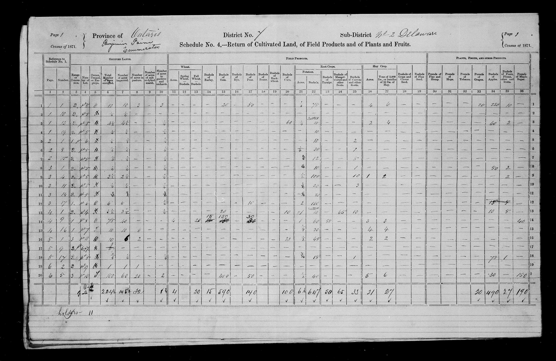 Titre: Recensement du Canada (1871) - N° d'enregistrement Mikan: 194056 - Microforme: c-9902