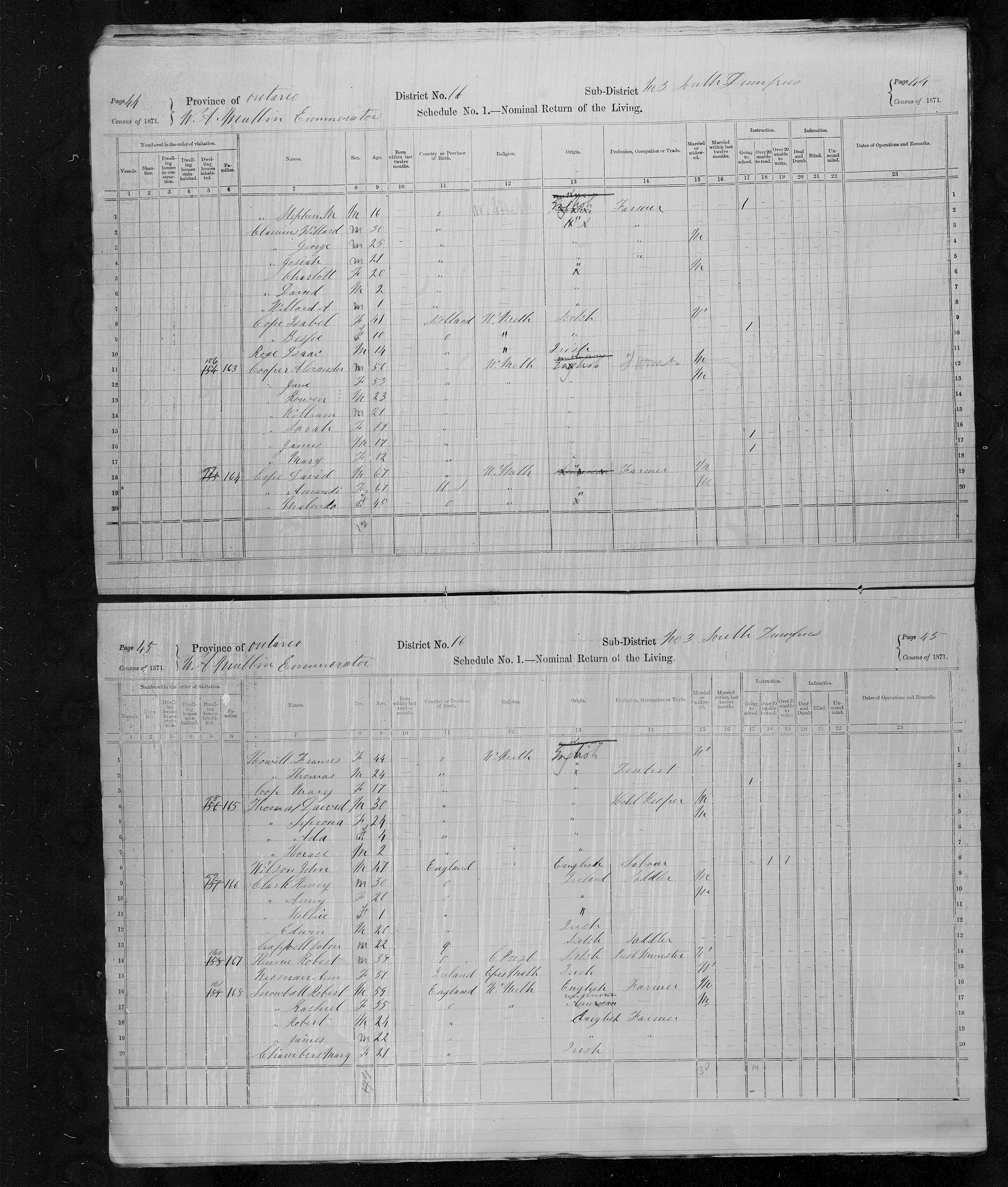 Title: Census of Canada, 1871 - Mikan Number: 142105 - Microform: c-9915
