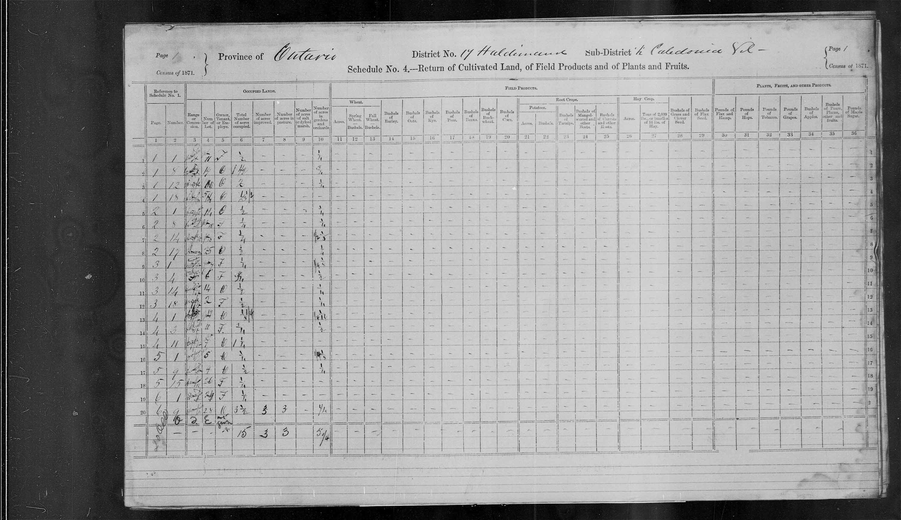 Title: Census of Canada, 1871 - Mikan Number: 142105 - Microform: c-9918