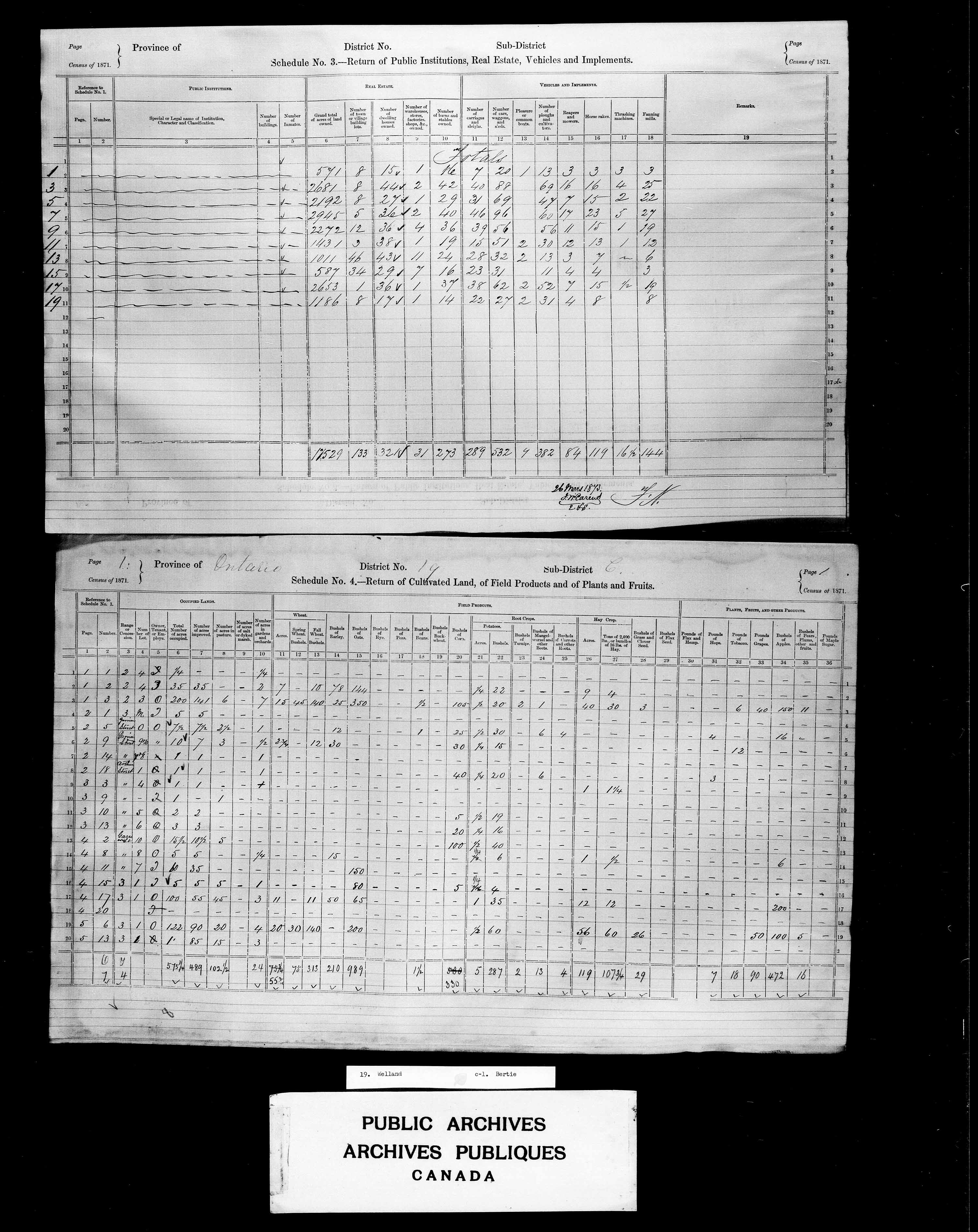 Title: Census of Canada, 1871 - Mikan Number: 142105 - Microform: c-9919