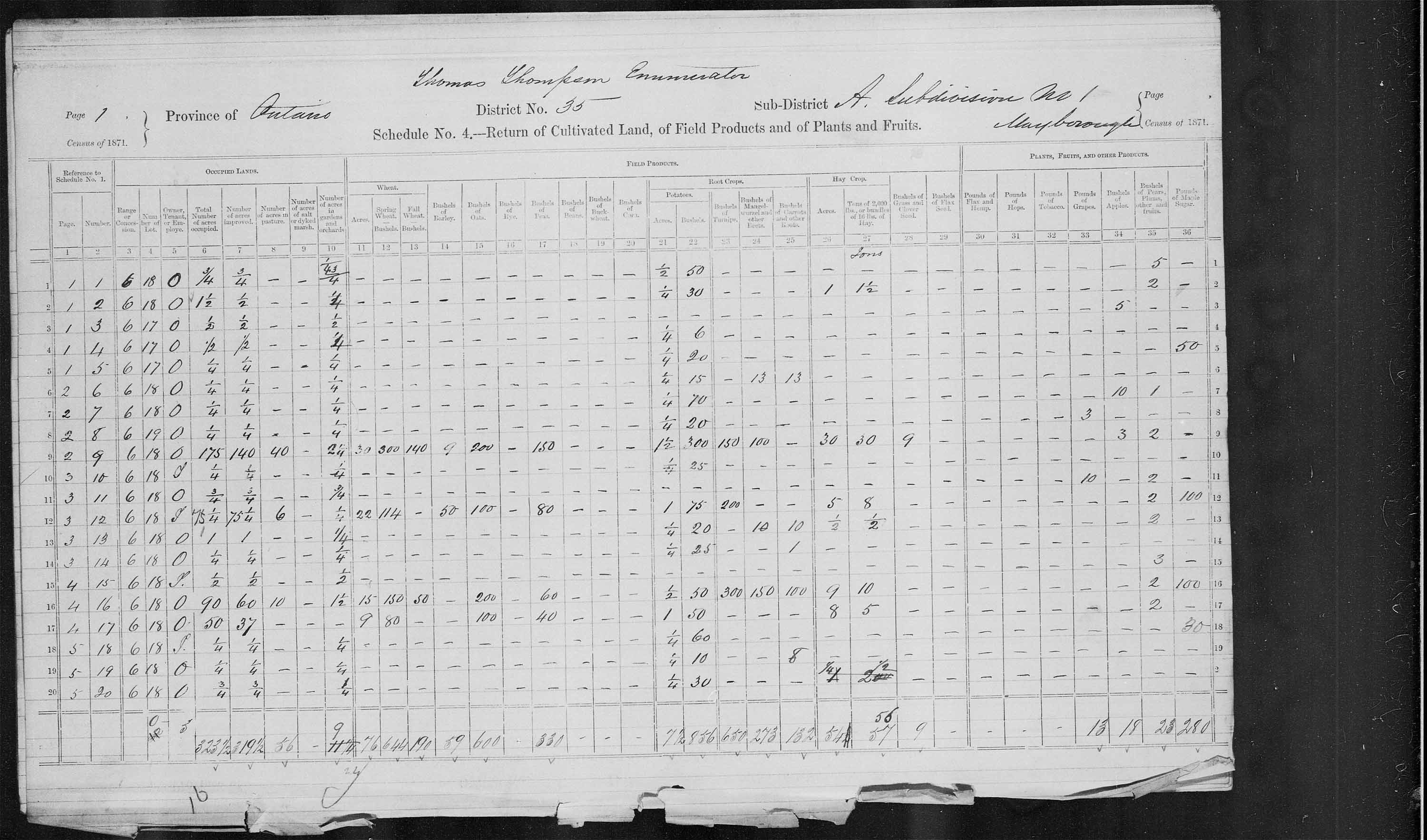 Title: Census of Canada, 1871 - Mikan Number: 142105 - Microform: c-9948