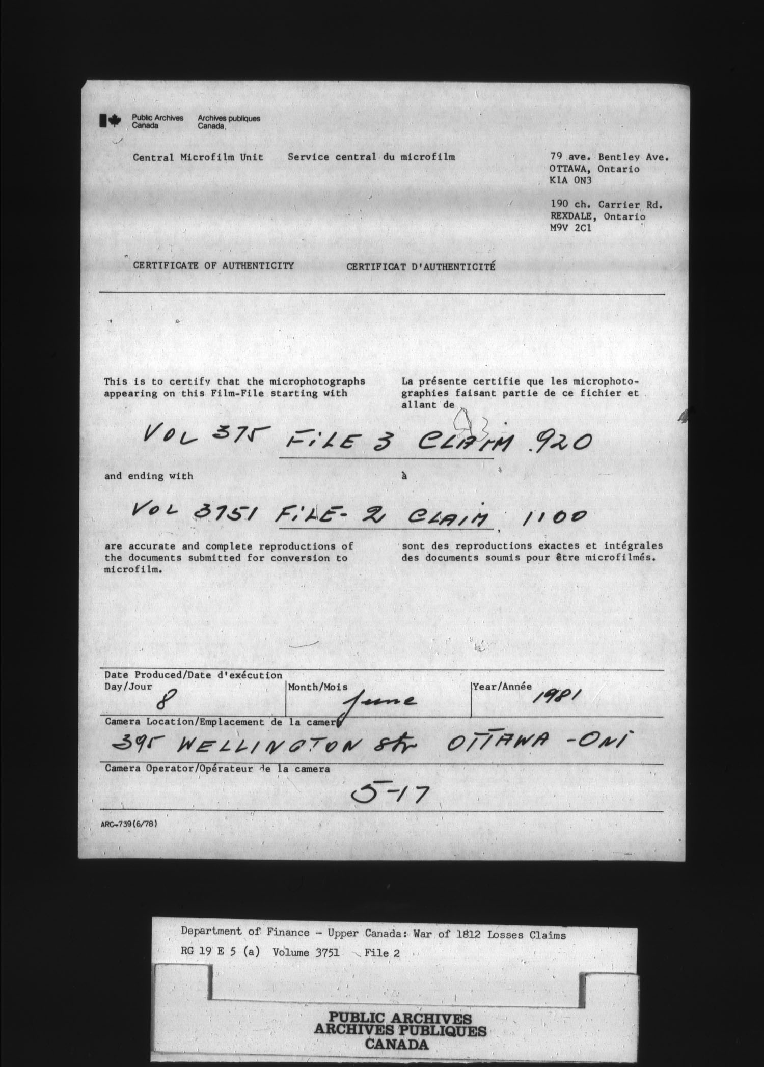 Title: War of 1812: Board of Claims for Losses, 1813-1848, RG 19 E5A - Mikan Number: 139215 - Microform: t-1133