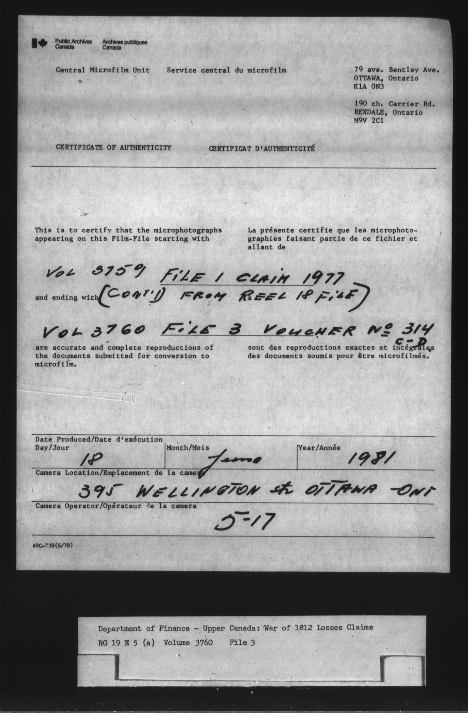 Title: War of 1812: Board of Claims for Losses, 1813-1848, RG 19 E5A - Mikan Number: 139215 - Microform: t-1140