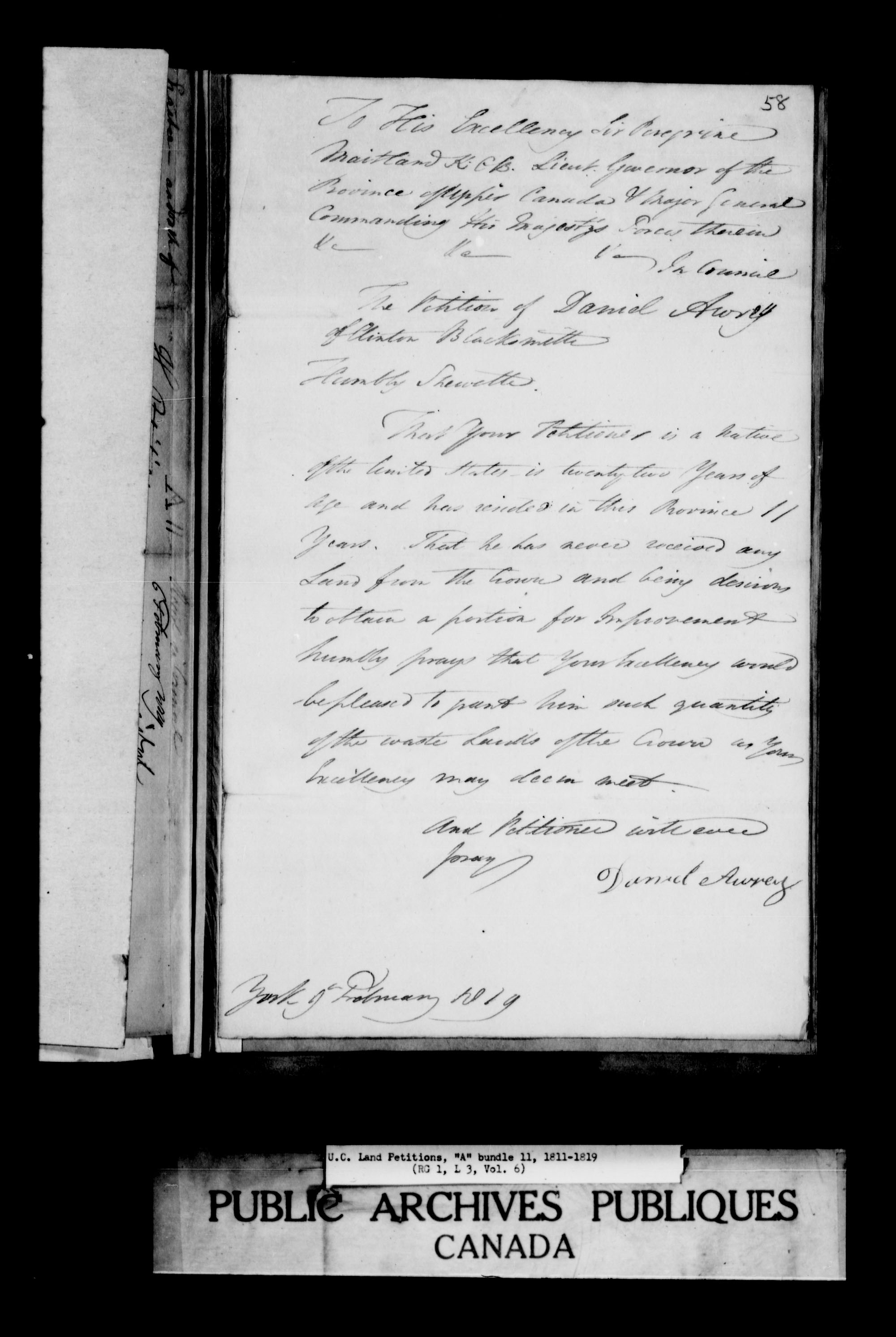Title: Upper Canada Land Petitions (1763-1865) - Mikan Number: 205131 - Microform: c-1610