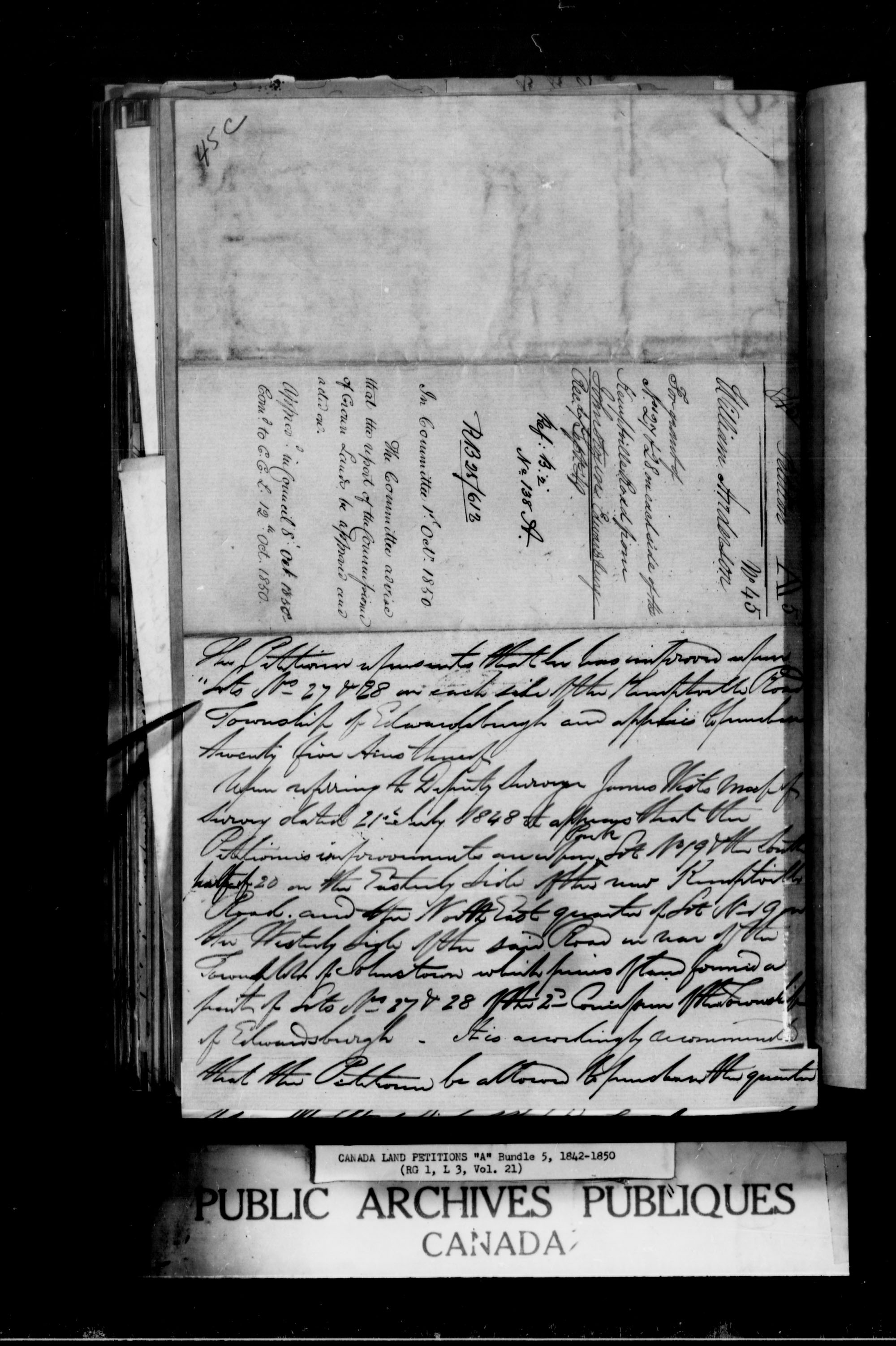 Title: Upper Canada Land Petitions (1763-1865) - Mikan Number: 205131 - Microform: c-1616