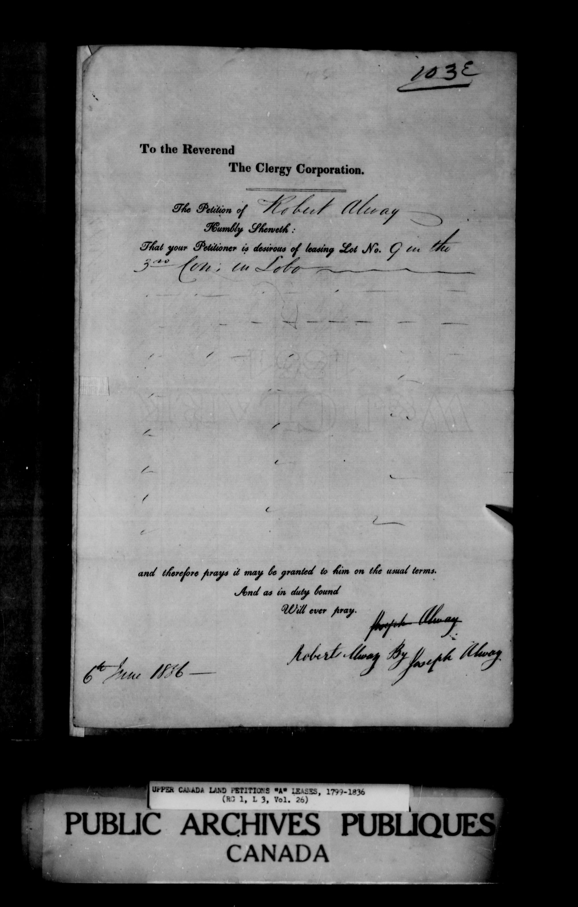 Title: Upper Canada Land Petitions (1763-1865) - Mikan Number: 205131 - Microform: c-1618