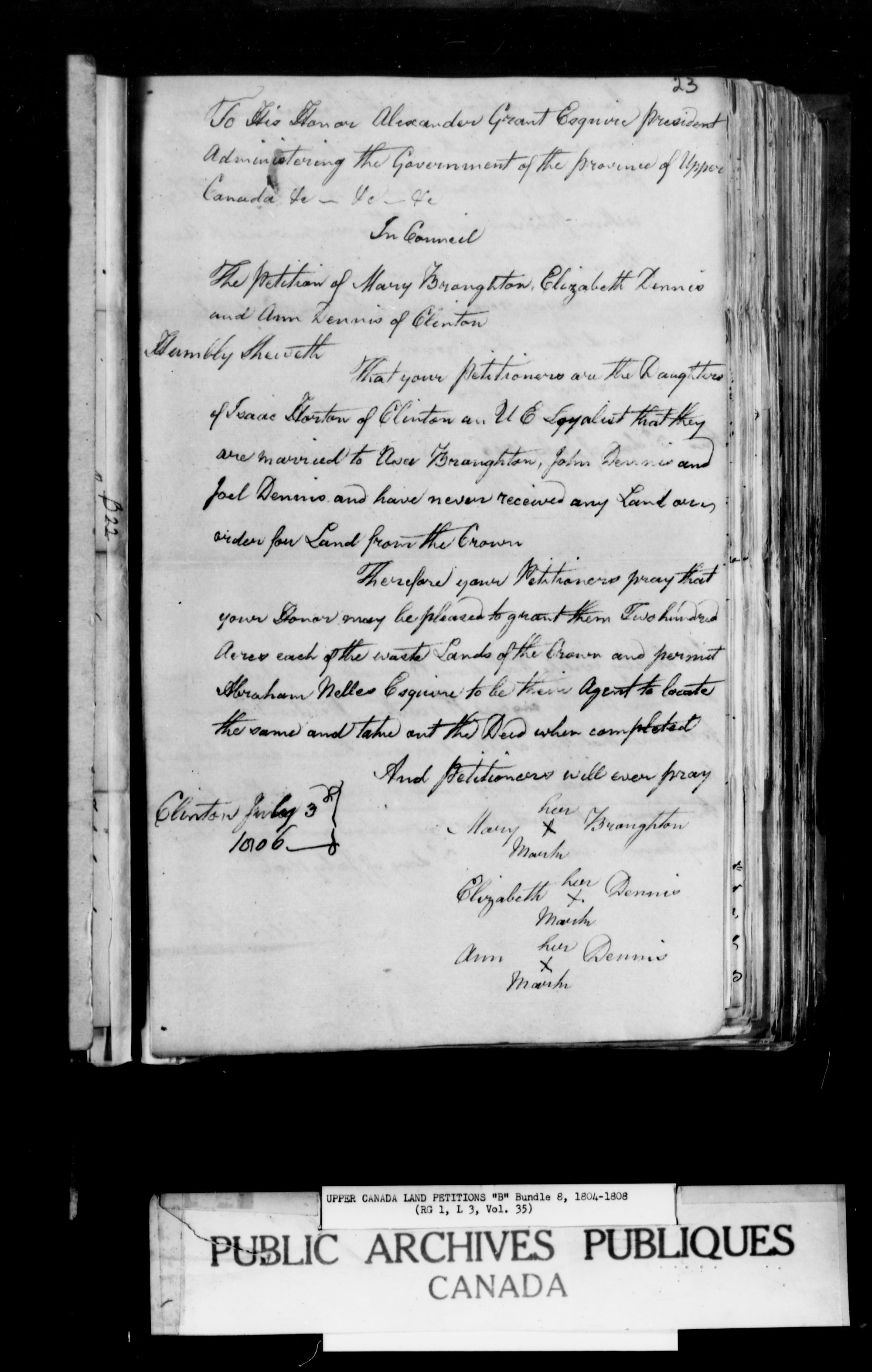 Title: Upper Canada Land Petitions (1763-1865) - Mikan Number: 205131 - Microform: c-1622