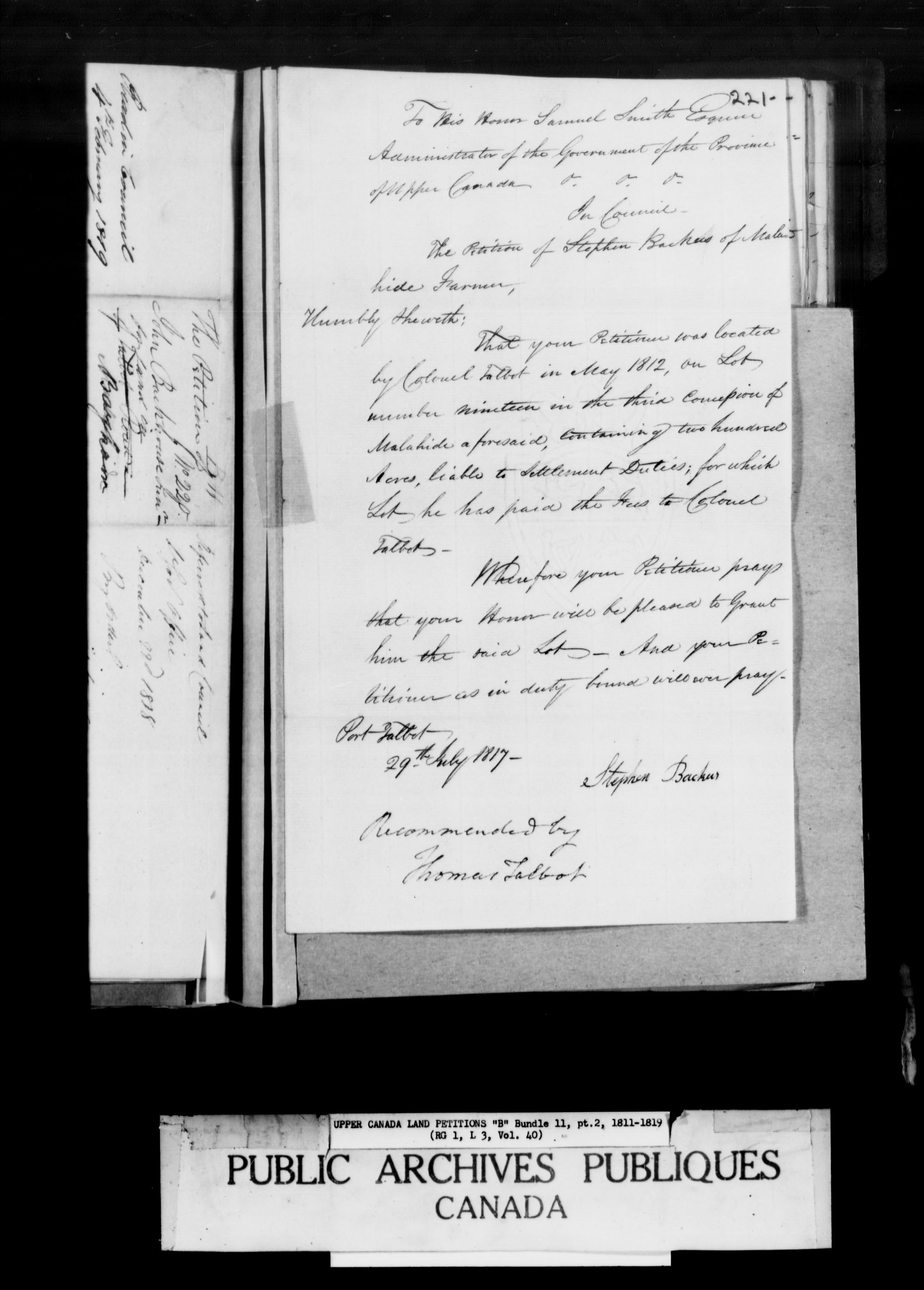 Title: Upper Canada Land Petitions (1763-1865) - Mikan Number: 205131 - Microform: c-1624