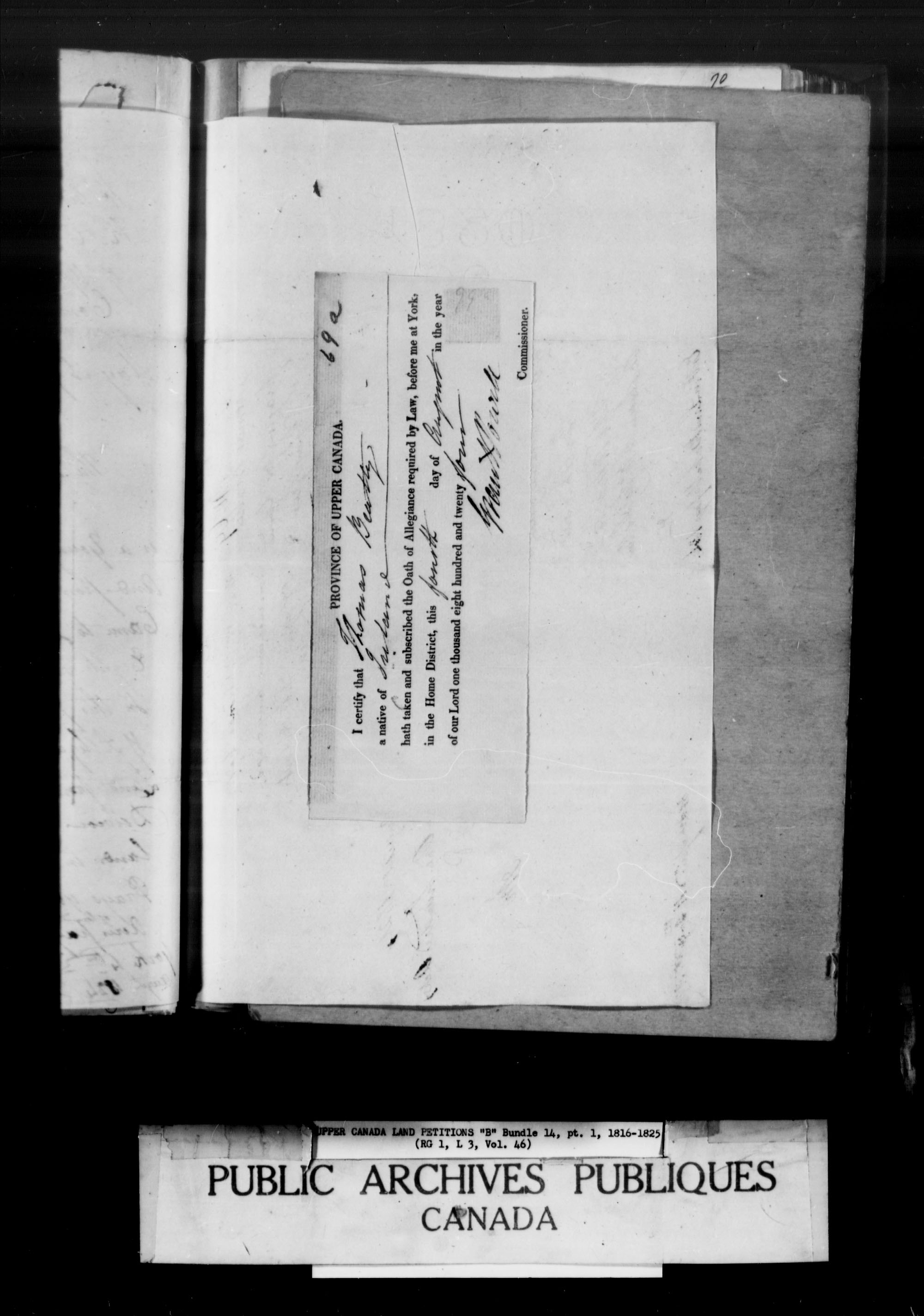 Title: Upper Canada Land Petitions (1763-1865) - Mikan Number: 205131 - Microform: c-1627
