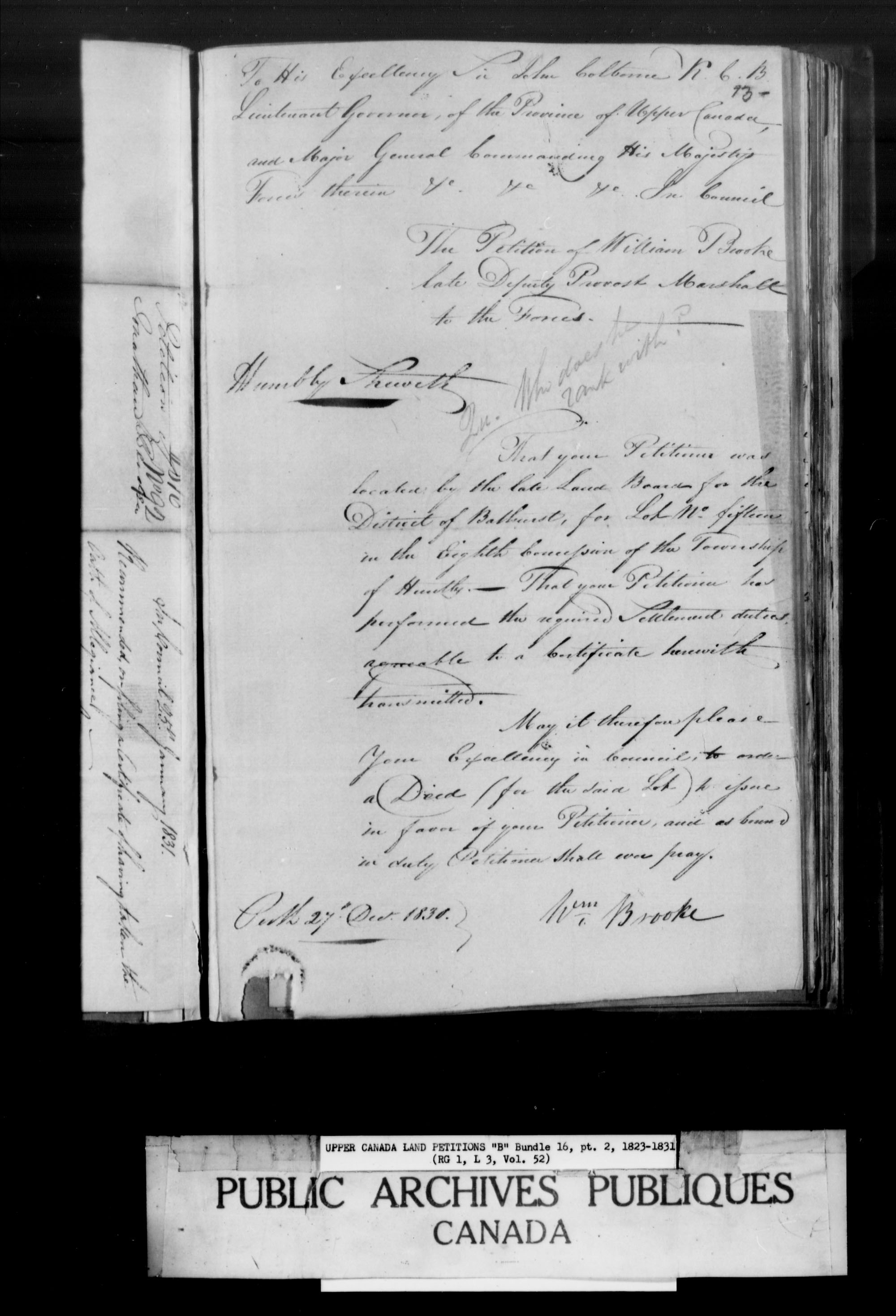 Title: Upper Canada Land Petitions (1763-1865) - Mikan Number: 205131 - Microform: c-1629