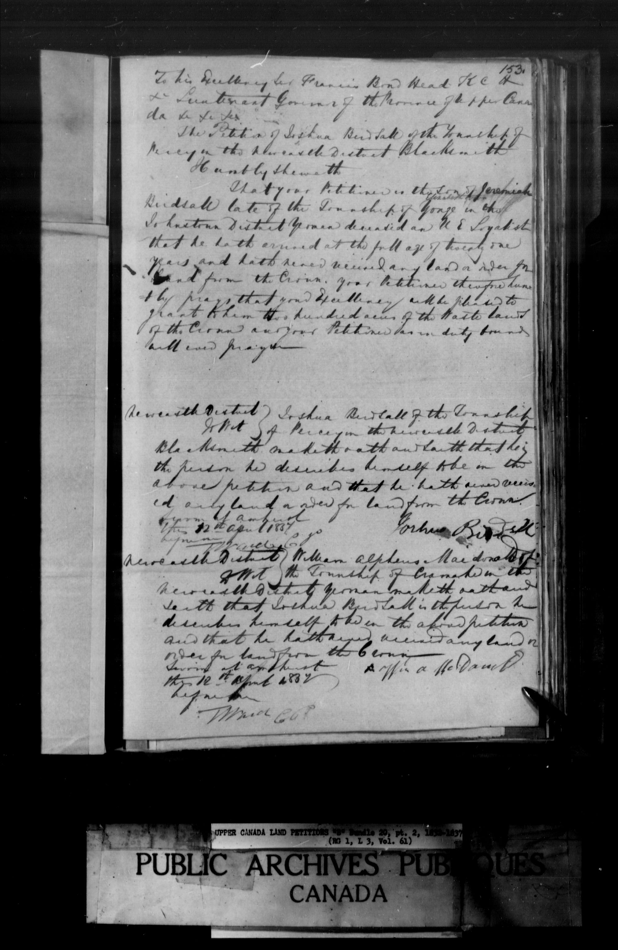 Title: Upper Canada Land Petitions (1763-1865) - Mikan Number: 205131 - Microform: c-1633
