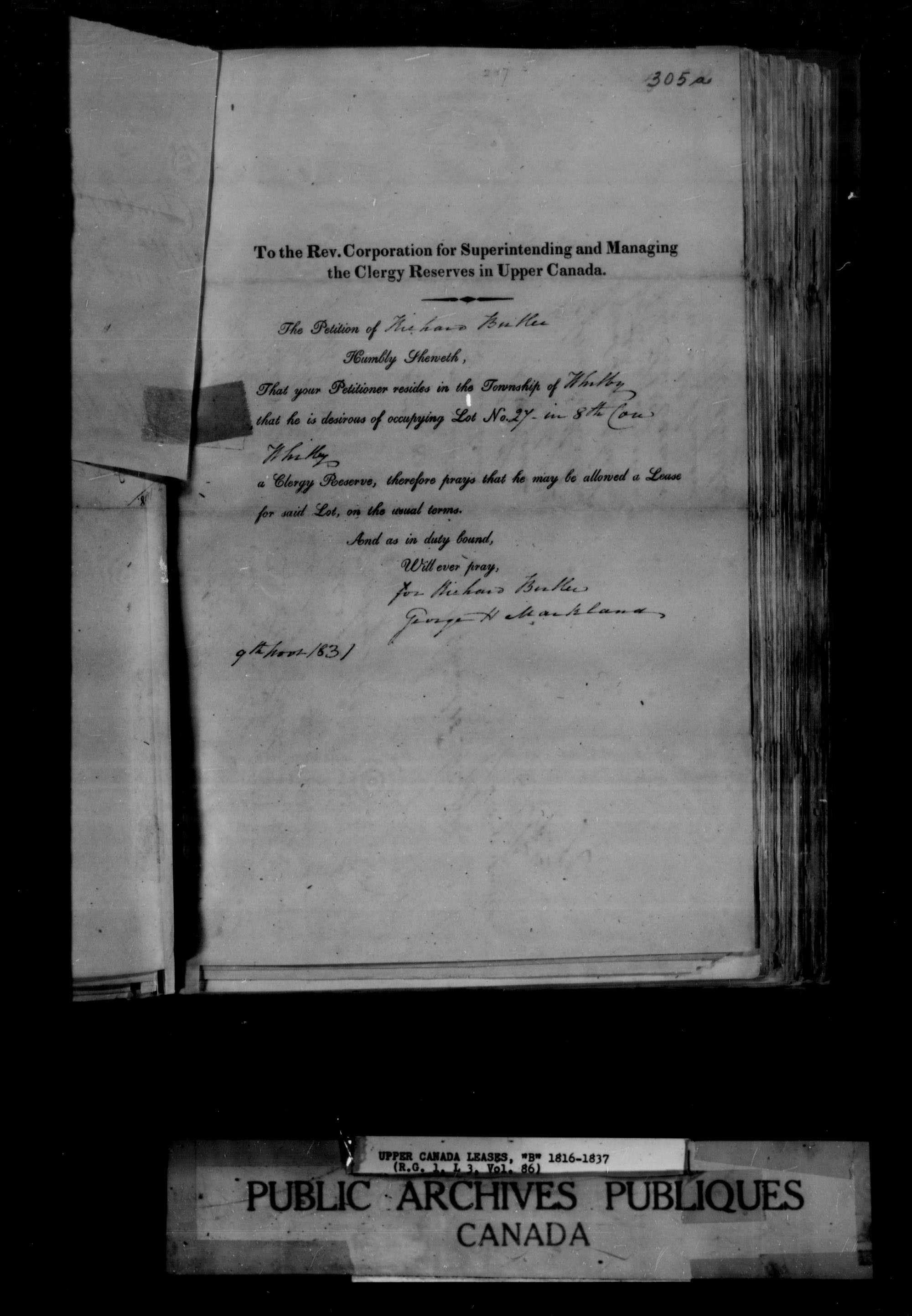 Title: Upper Canada Land Petitions (1763-1865) - Mikan Number: 205131 - Microform: c-1646